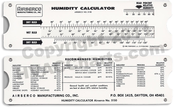 humidity calculator slide tool